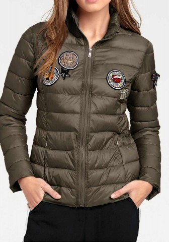 Designer-Steppjacke m. Patches, oliv